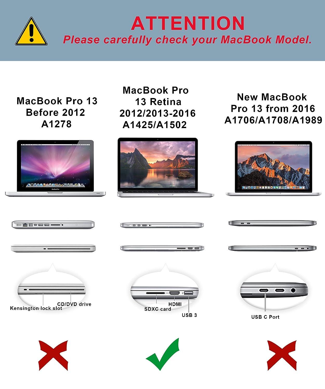 Mince Plastique Rigide Case Matt /Étui avec Housse de Clavier en Silicone pour MacBook Pro 13 avec//sans Touch Bar Mod/èle:A1706// A1708// A1989 Clair TECOOL Coque MacBook Pro 13 Pouces 2016//2017// 2018