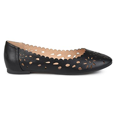 Brinley Co Womens Dester Faux Leather Wide Width Scalloped Laser-Cut Round Toe Flats