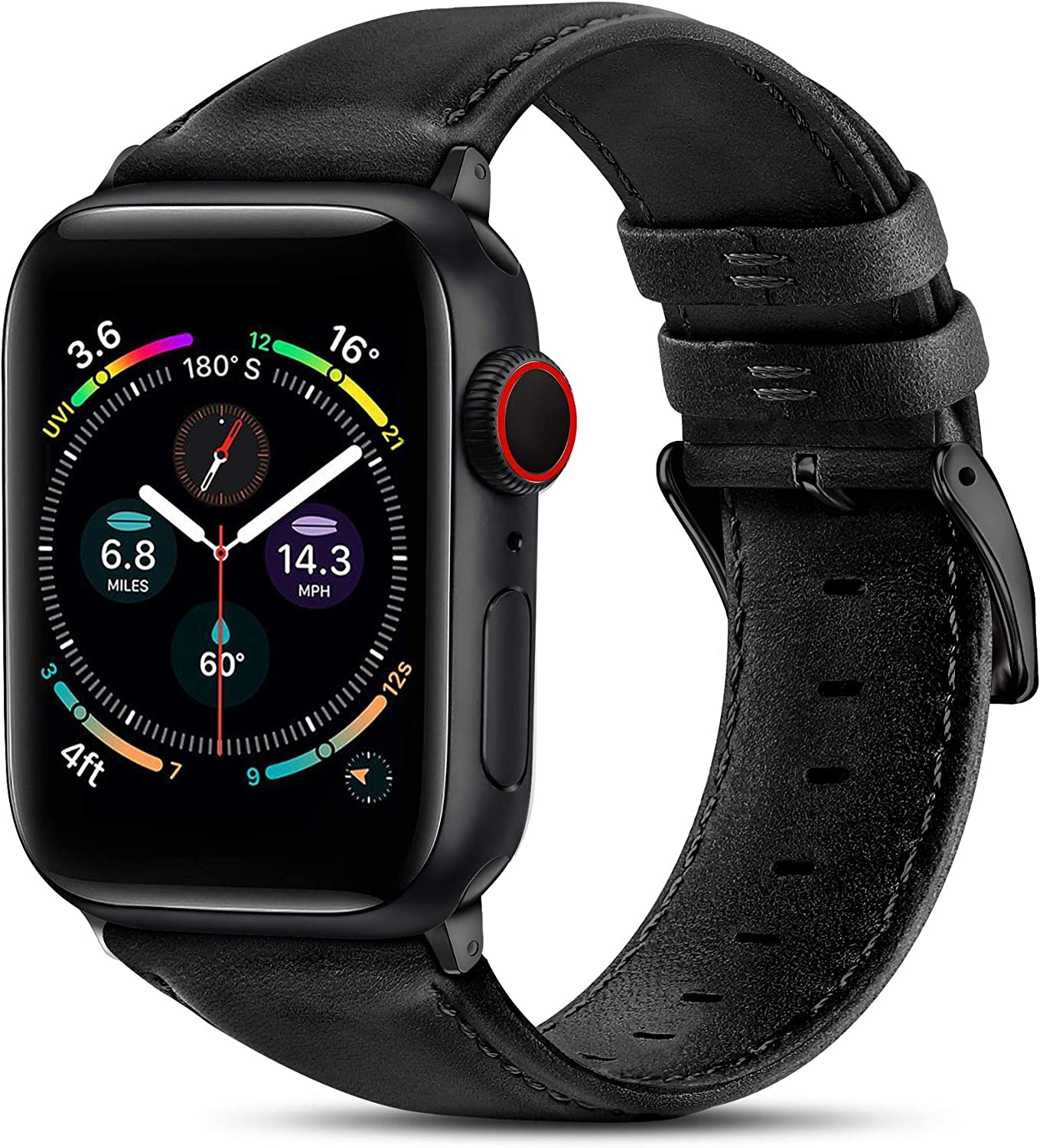 BRG Leather Bands Compatible with Apple Watch Band 44mm 42mm 40mm 38mm, Men Women Replacement Genuine Leather Strap for iWatch SE Series 6 5 4 3 2 1, Black Band/Black Adapter, 40mm 38mm