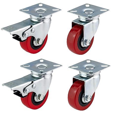 Ruedas giratorias de poliuretano con frenos de Bulldog Castors, de 50 mm, rojas y