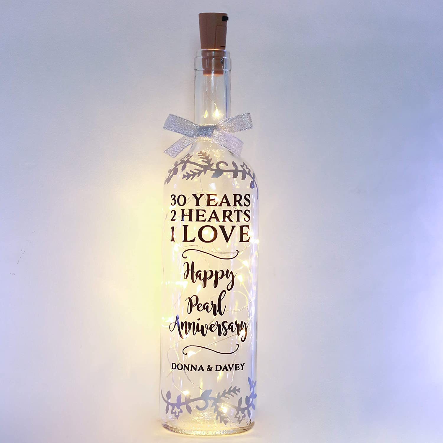 Personalised Pearl Wedding Anniversary Gifts, 8th, Gift for Parents,  Grandparents, Bottle Light