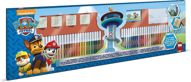 Multiprint Set 4 Sellos para Niños y 60 Marcadores de Colores Paw Patrol Boy, Made in Italy, Set Sellos Niños Persolanizados, en Madera y Caucho Natural, Tinta Lavable no Tóxica, Idea de Regalo, art.1