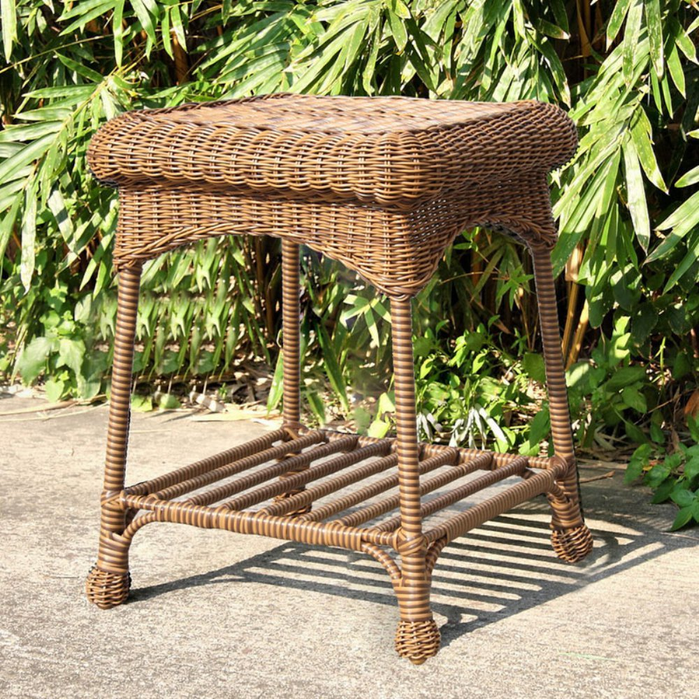 amazoncom  jeco wicker patio end table in honey  patio side  - amazoncom  jeco wicker patio end table in honey  patio side tables patio lawn  garden