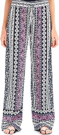 Love Welove Fashion Womens Summer Wide Leg Elastic High Waist Printed Boho Hippie Palazzo Pants Plus Size