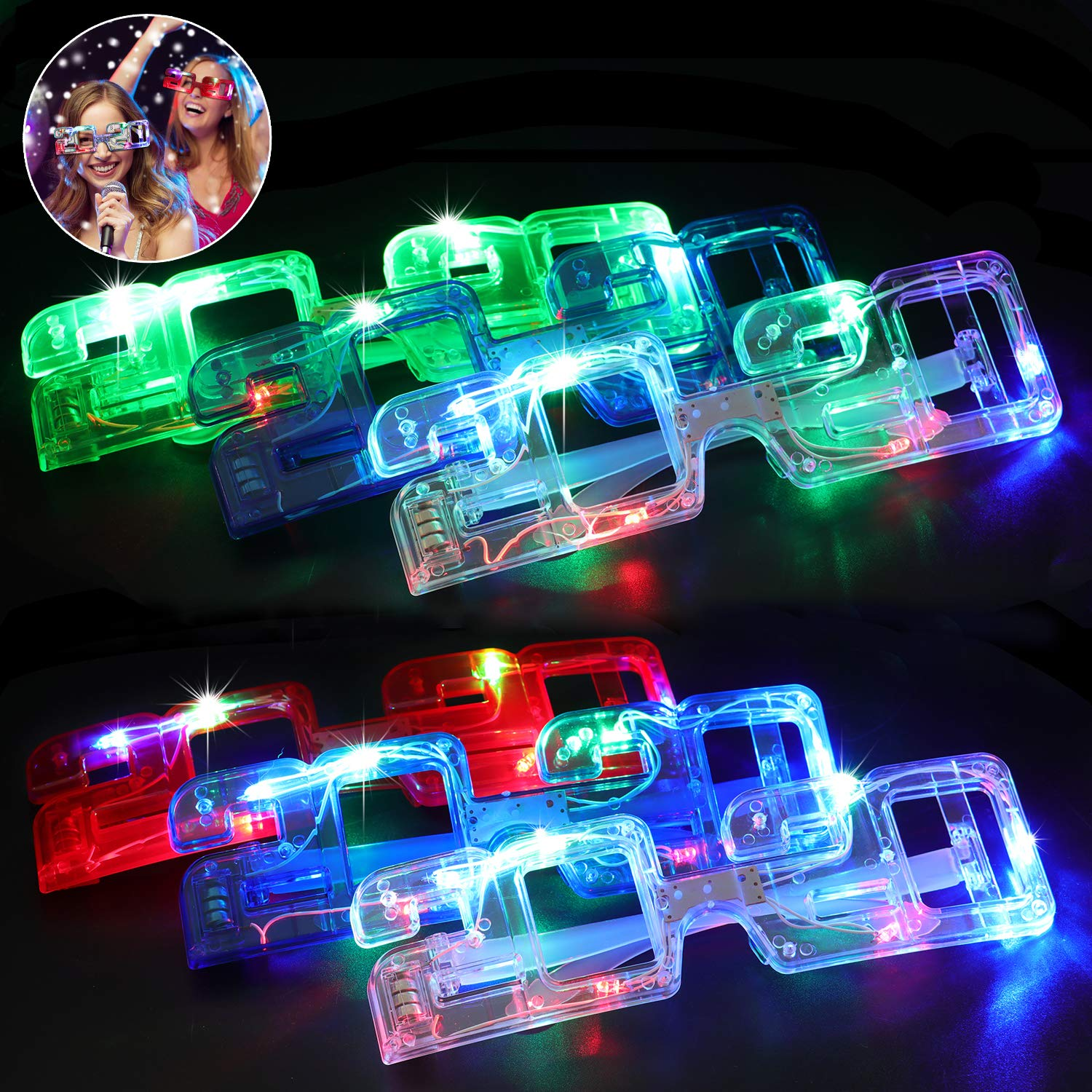 Fansport 6 Pairs LED Glasses 2020 Light up Glasses Glowing Glasses for New Year Party