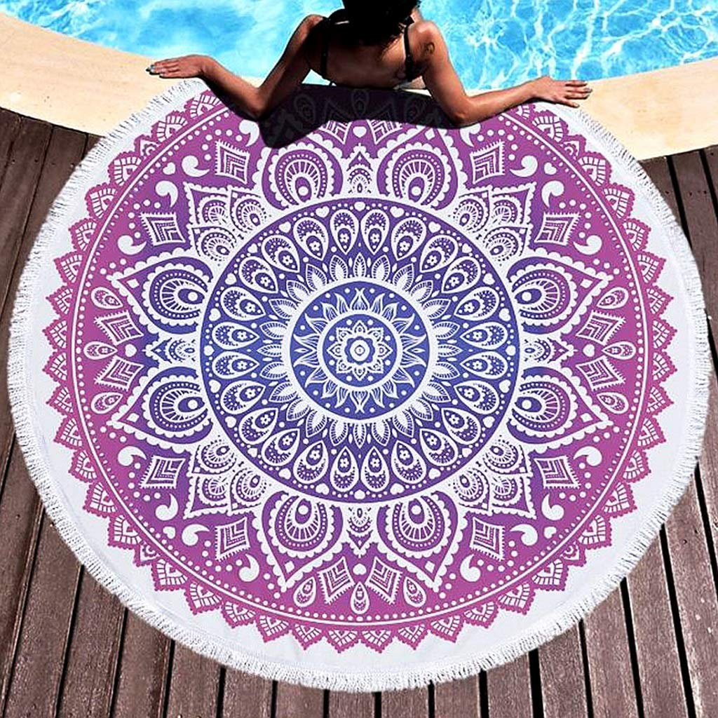 ASIERY Fringe Round Picnic mat Beach Towel Swimming wrap Skirt Beach mat (Color : F) by ASIERY