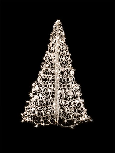 amazoncom 5 white wire crab pot christmas tree with 280 clear warm white led mini lights garden outdoor - White Wire Christmas Tree