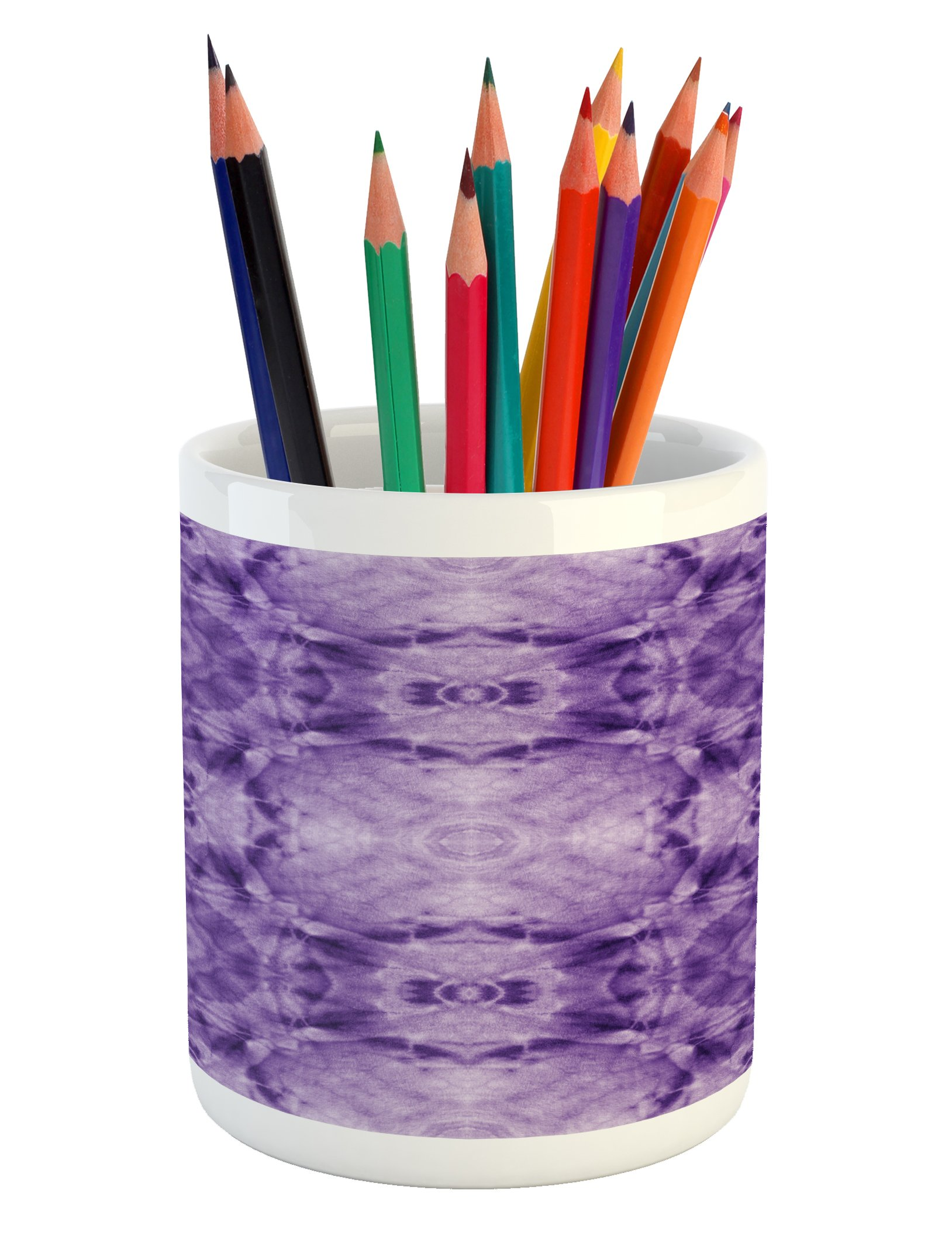 Lunarable Thai Pencil Pen Holder, Thai Style Motif Generated with Square Shaped Kaleidoscope Murky Toned Forms Psychedelic, Printed Ceramic Pencil Pen Holder for Desk Office Accessory, Purple by Lunarable
