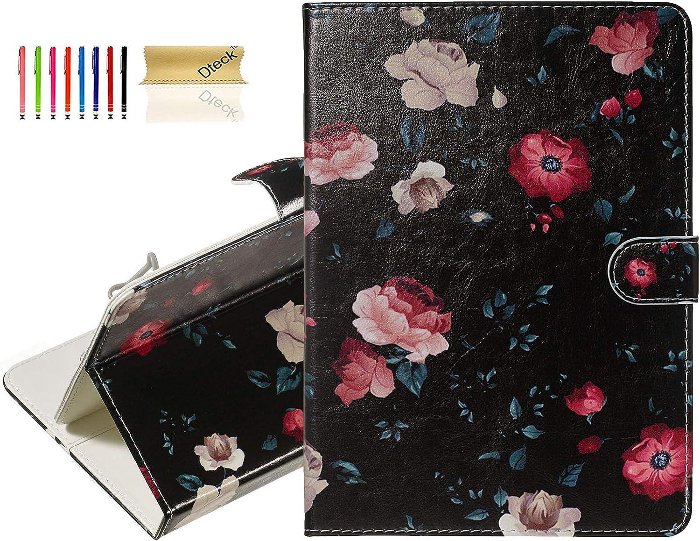 "Dteck 7.5-8.5 Inch Universal Tablet Case - Slim Lightweight Pretty Folio Wallet Stand Cover Case for Samsung Tab 8.0/ Alcatel 3T A30 8""/ Lenovo Tab 4 8""/ Walmart Onn 8""/LG G Pad F2 8.0-Black Flower"