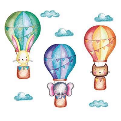 Wall Decal Nursery Vinyl Sticker and Kids Room, Hot Air Balloon Pastel Colors: Baby