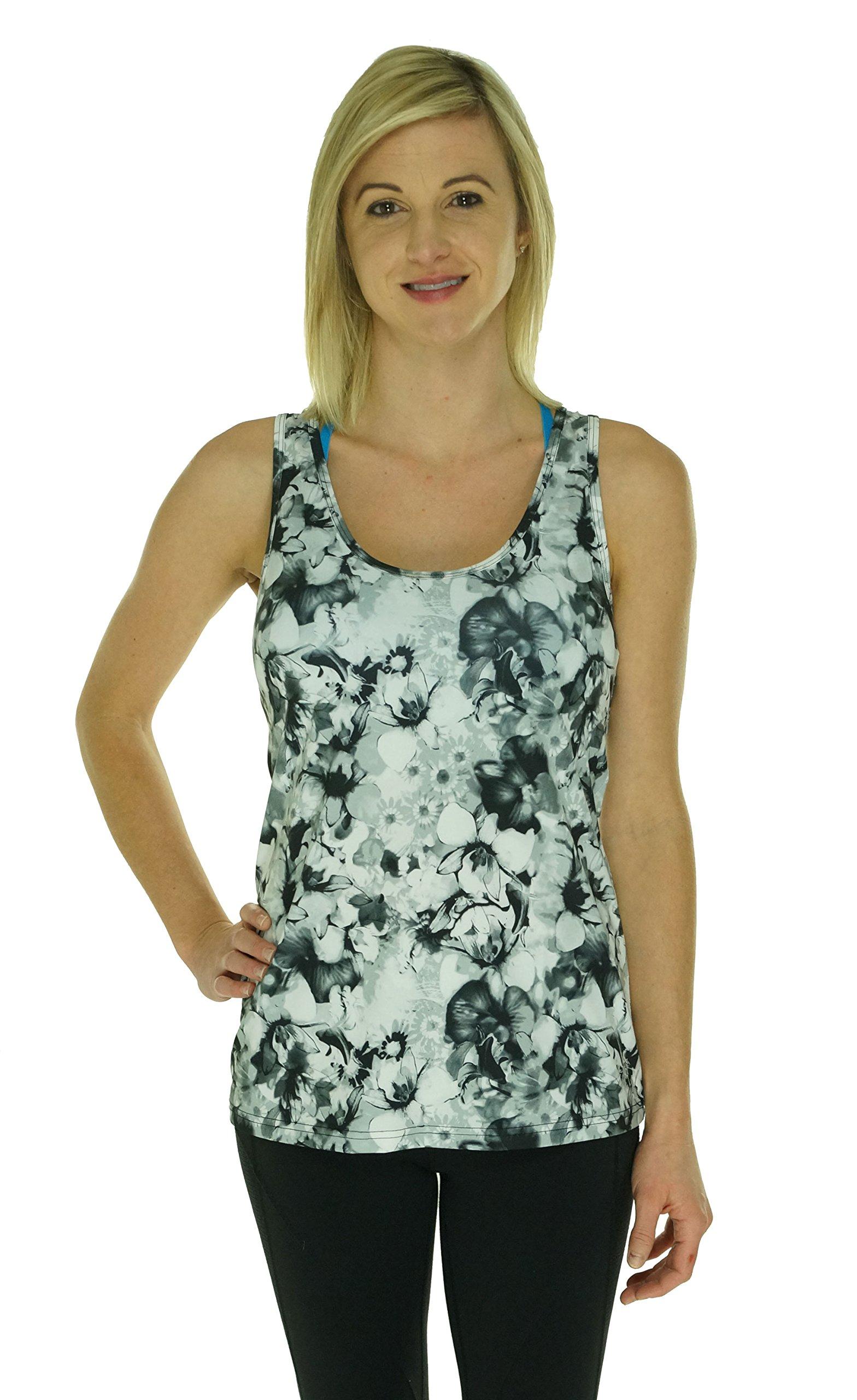 Ideology Women's Printed Scuba Tank Top Shirt (Large, Power Blossom) by Ideology