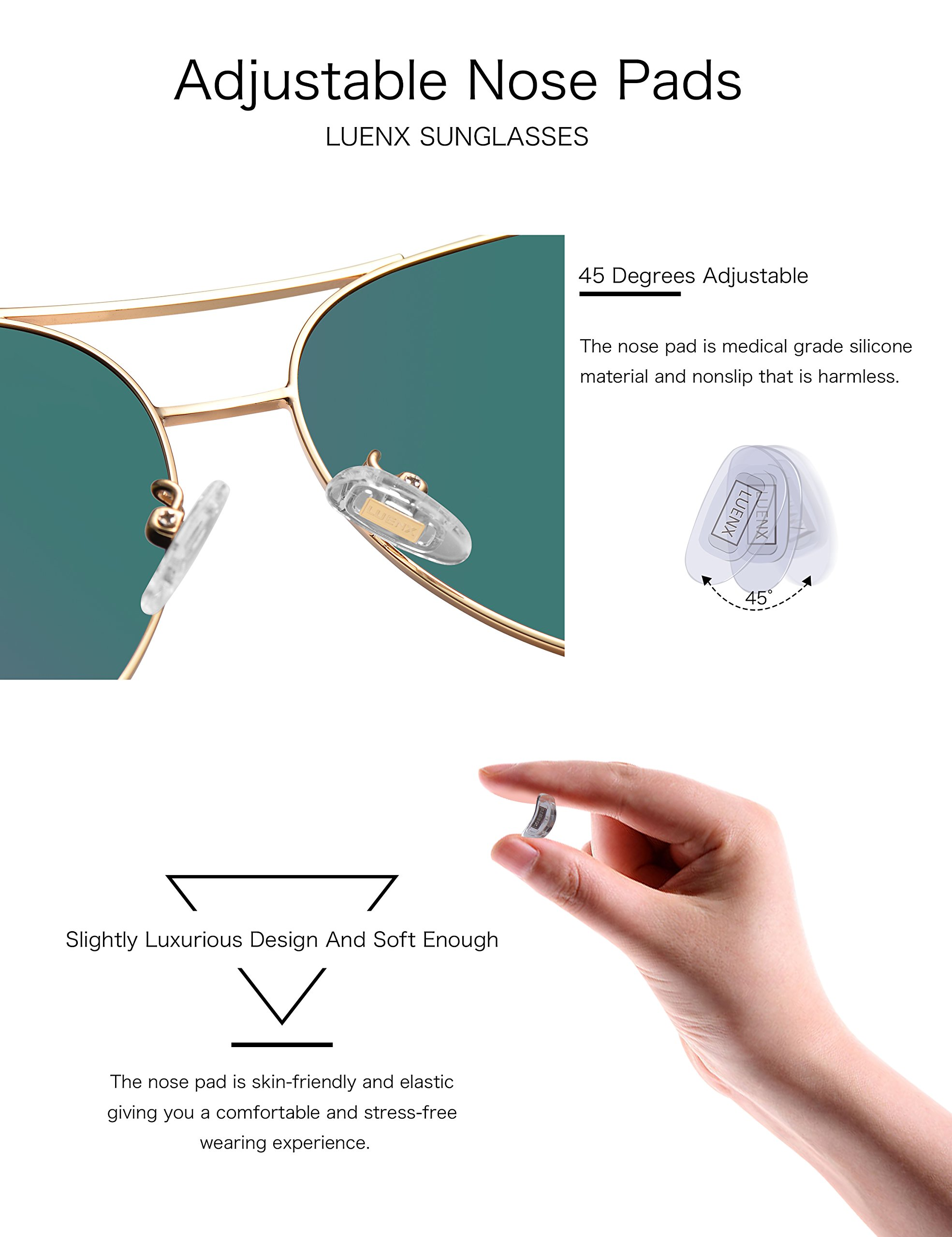 8c524ba1cd LUENX Aviator Sunglasses Womens Polarized Mirror with Case – UV 400  Protection 60MM
