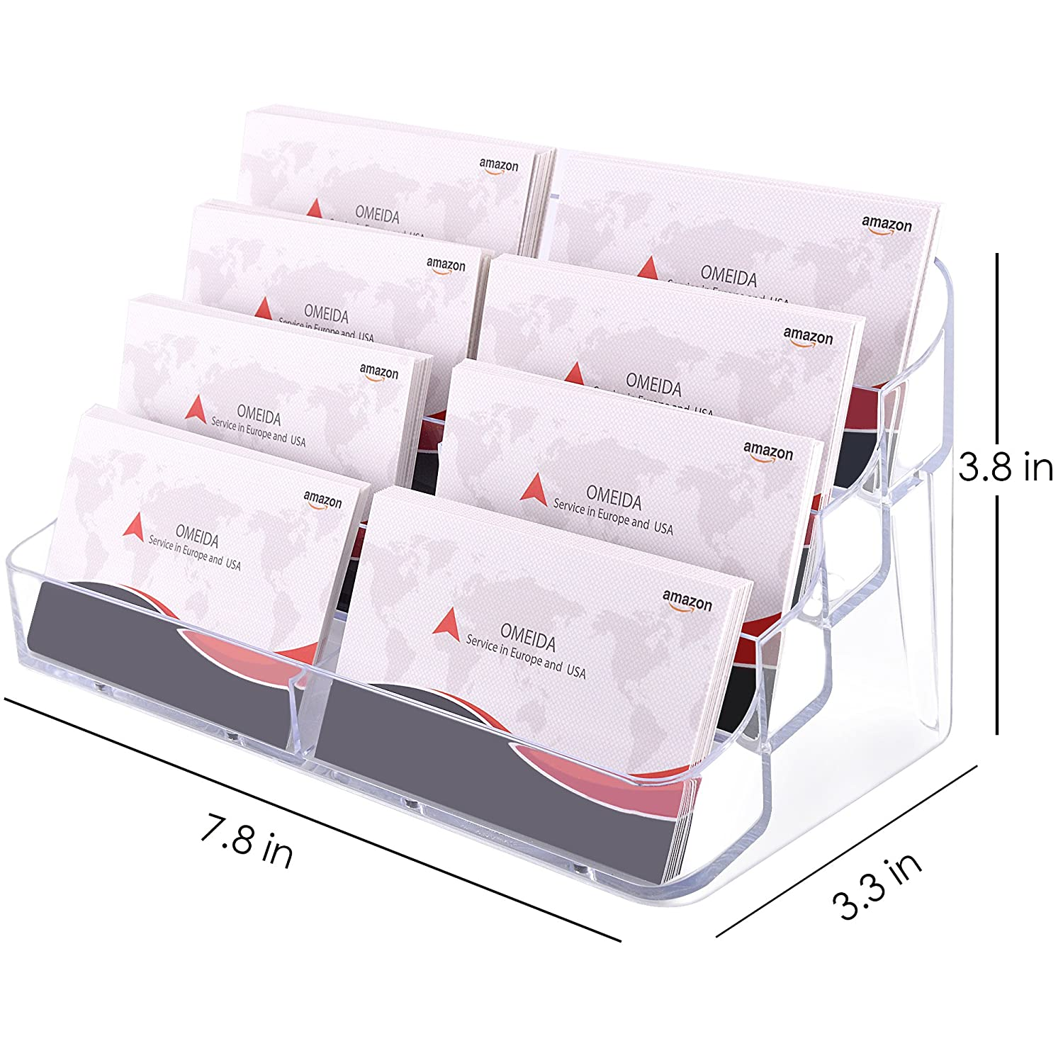 Amazon MaxGear Acrylic Business Card Holder Clear Business Card Stand for Desk or Counter 8 Pocket 400 Capacity fice Products