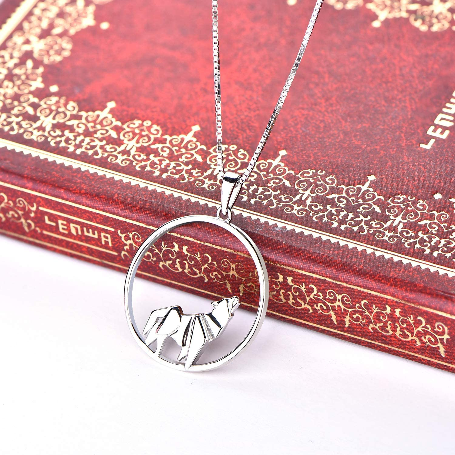 YL Wolf Necklace 925 Sterling Silver Origami Pendant Circle Jewelry Women Gifts