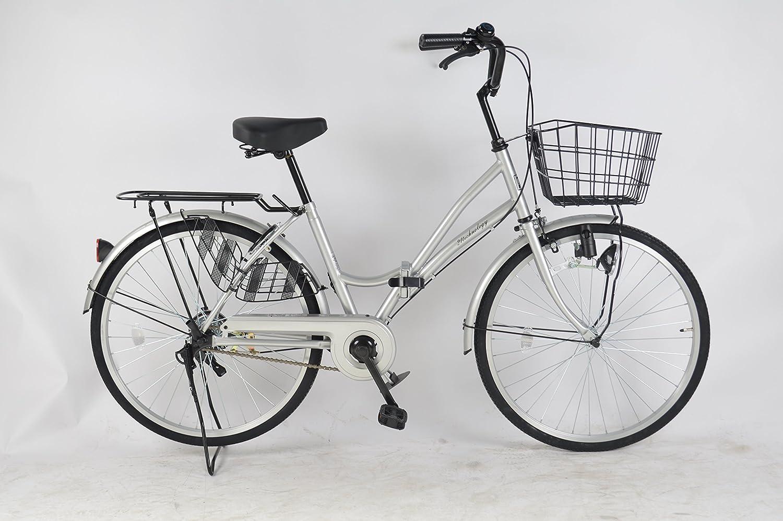 21Technology 2018年新型 MC240 24インチ 折りたたみ自転車 ママチャリ シティサイクル ライト 鍵 標準装備 B01BTEP1HCシルバー
