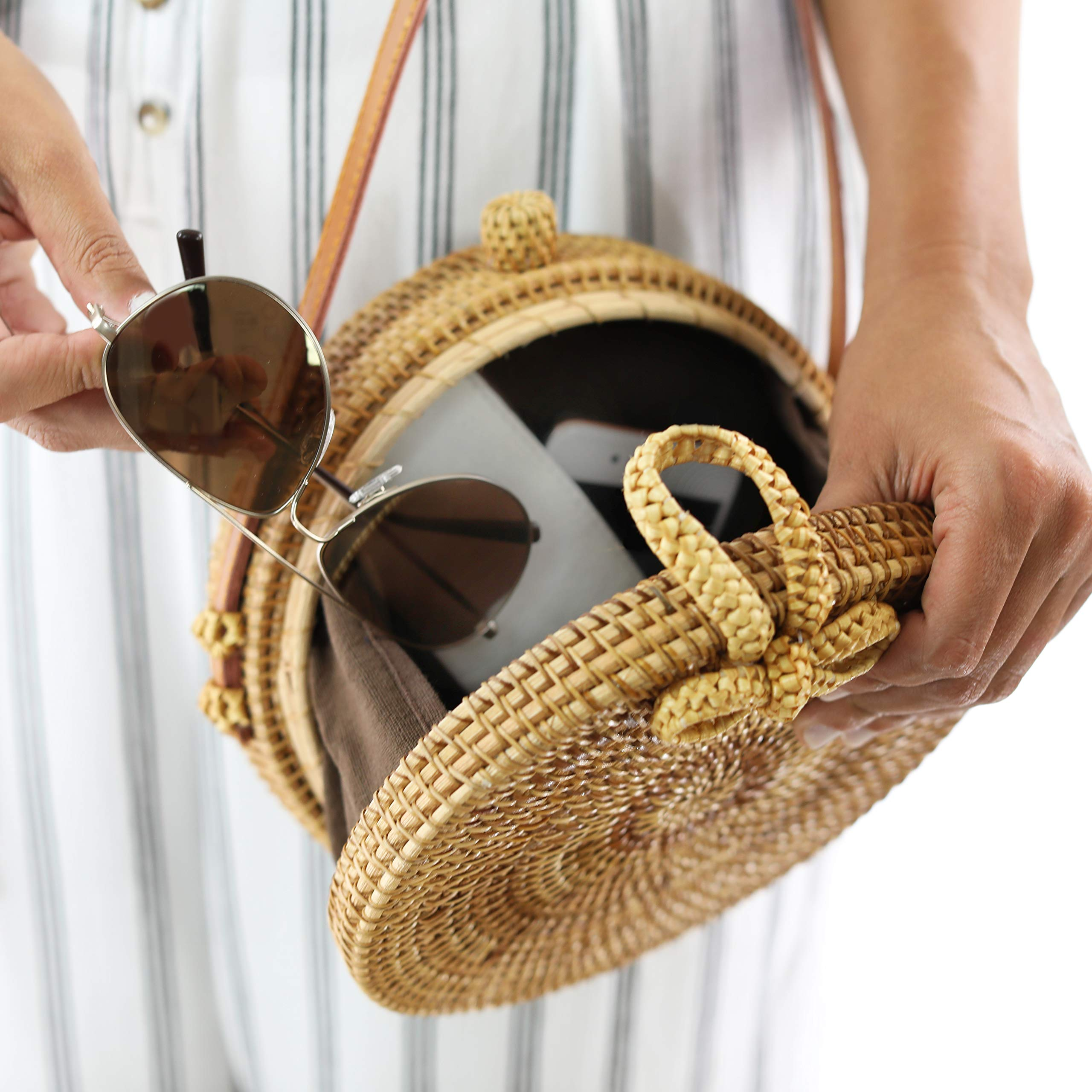 RATTAN NATURALS Handwoven Round Rattan Crossbody Bag| DELUXE EDITION | Round Straw Bag for Women | Genuine 100% Leather Shoulder straps | Straw purse For Women | Boho bag | Straw Handbag for Women by Rattan Naturals (Image #8)