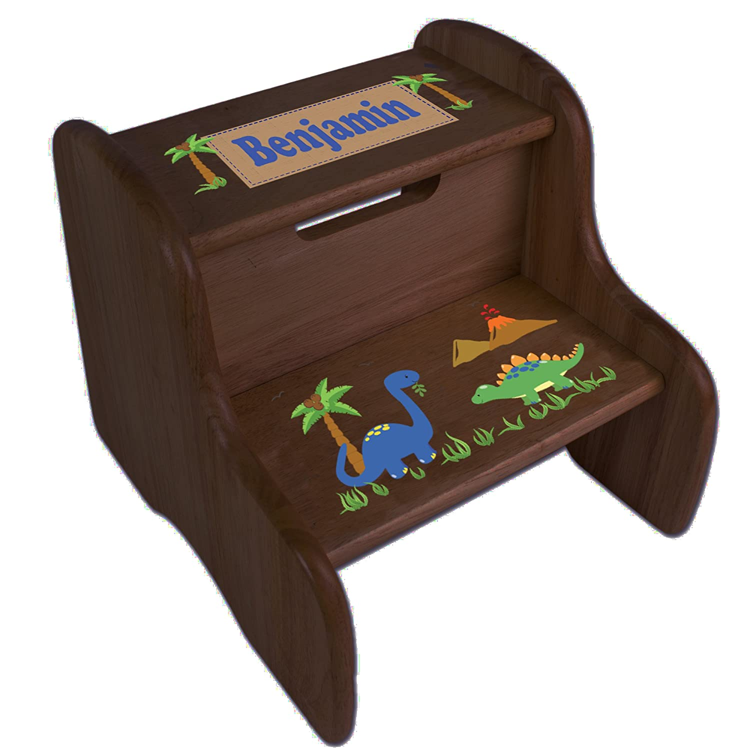 Personalized Dinosaurs Espresso Two Step Stool MyBambino fixe-esp-217