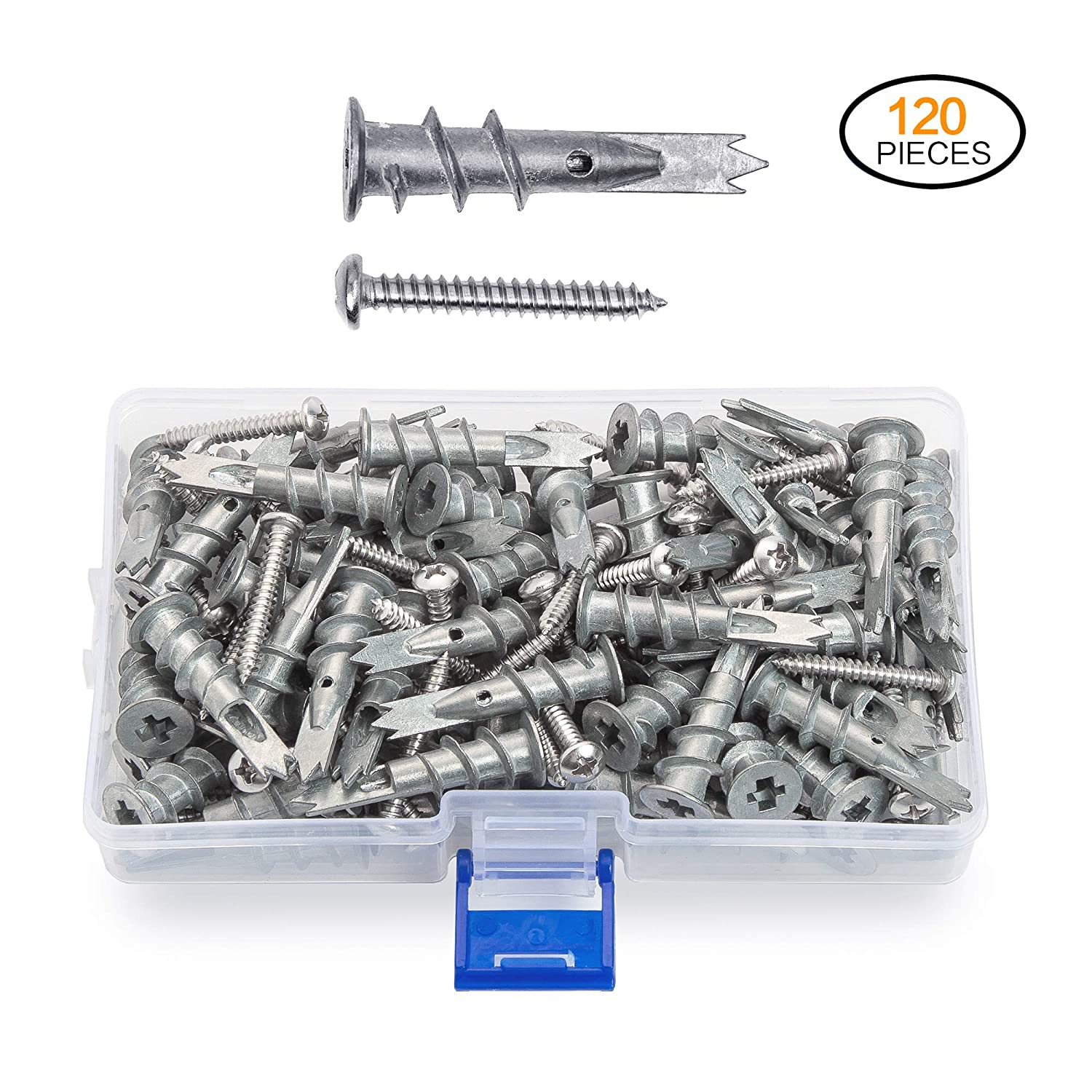 JUIDINTO Zinc Drywall Anchors with Screws Self Drilling Hollow Wall Anchors M4.2 Tapping Screws Assortment Kit,120 pcs