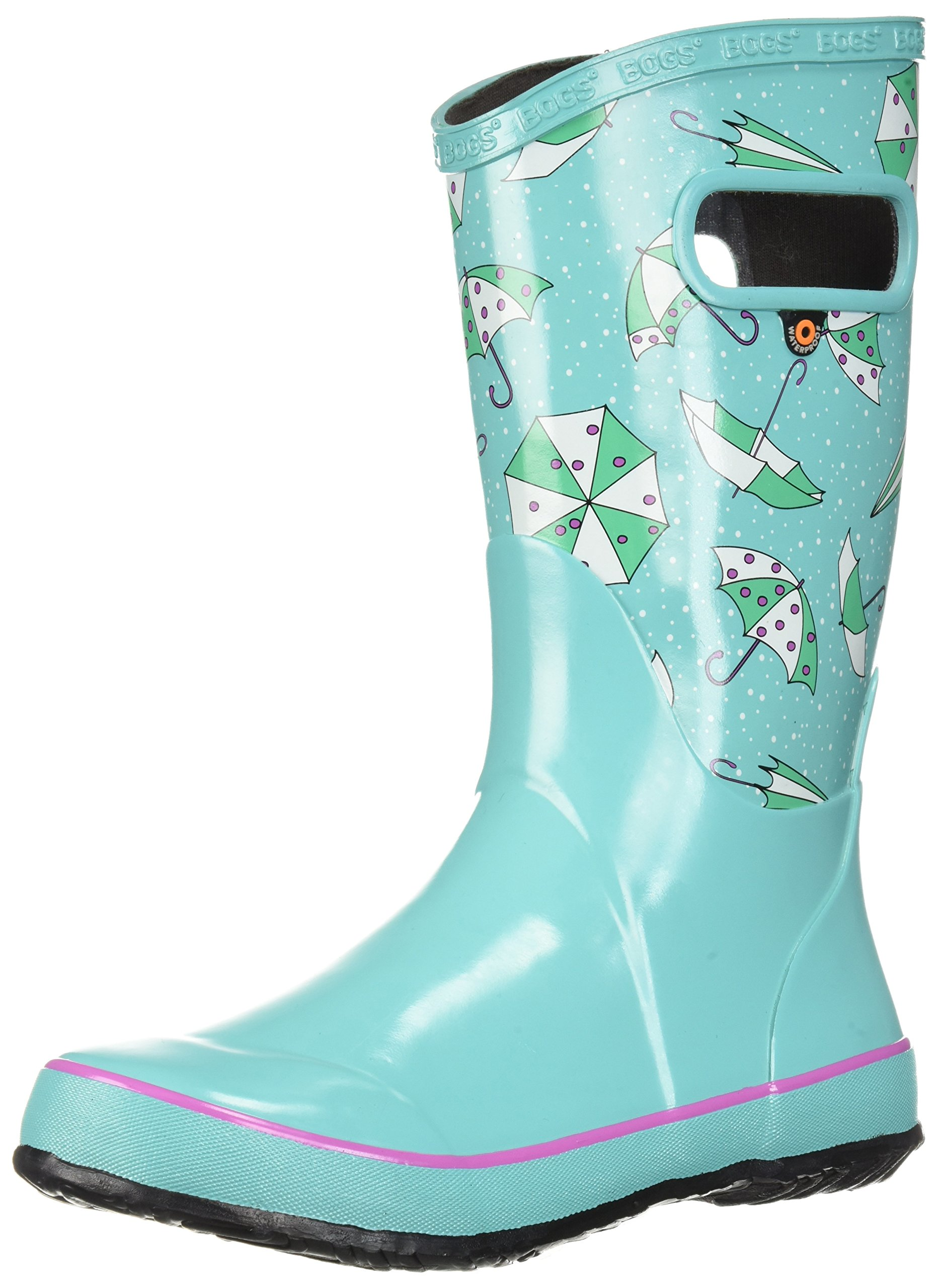 Bogs Kids Rubber Waterproof Rain Boot for Boys and Girls, Umbrellas Print/Turquoise/Multi, 2 M US Little Kid
