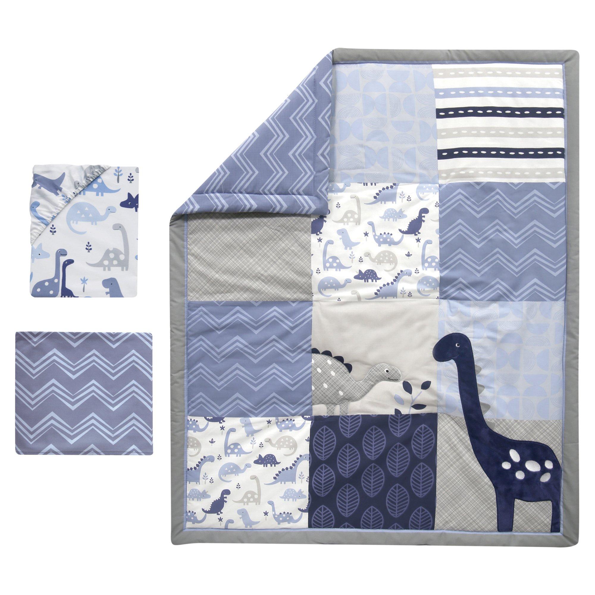 Bedtime Originals Roar Dinosaur 3 Piece Crib Bedding Set Blue Gray