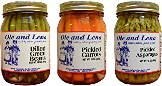 product image for Ole & Lena Pickled Preserves (3 Pack Variety)-Pickled Asparagus, Pickled Carrots, Dilled Green Beans