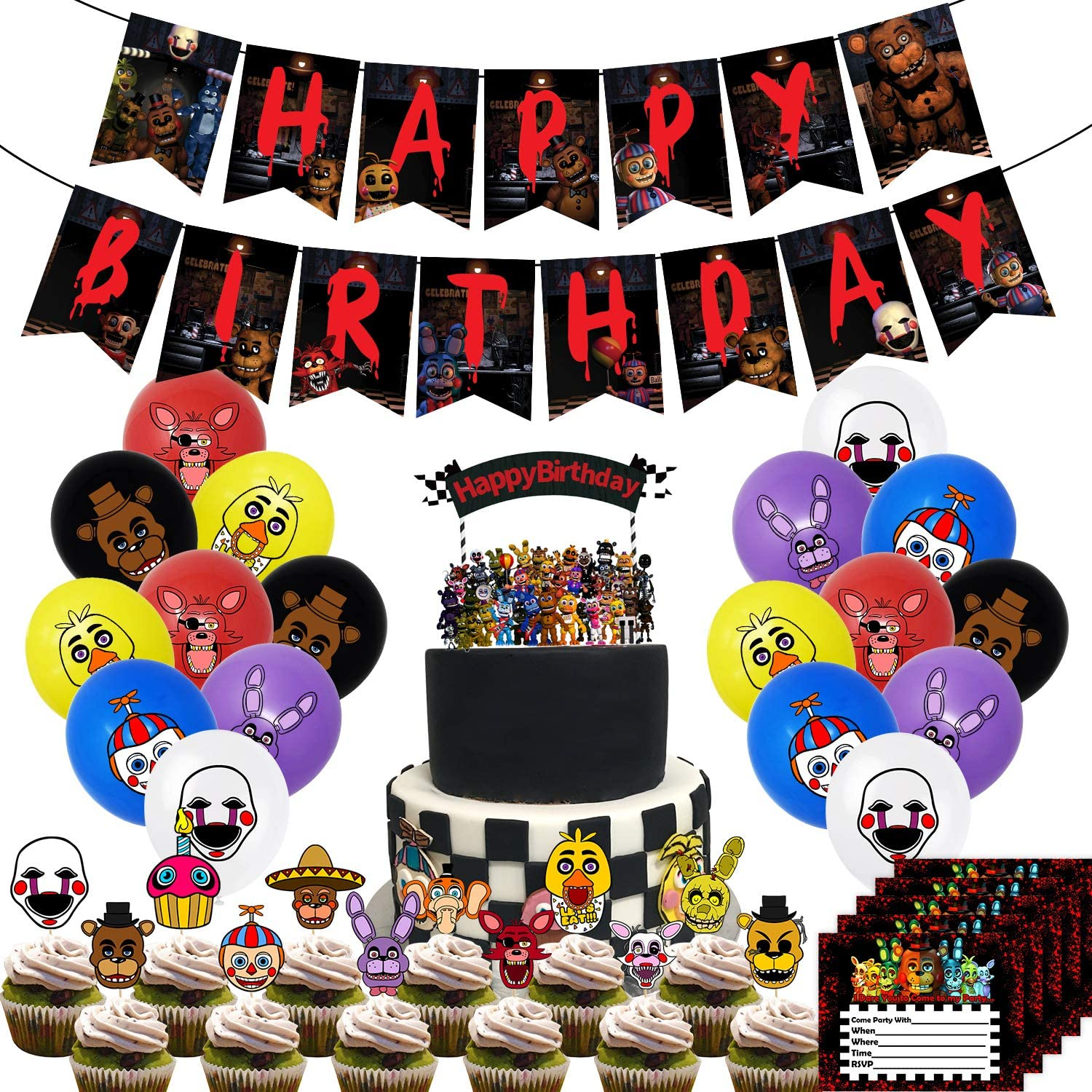 Cake Decorations For Five Nights At Freddy S Cake Topper Fnaf Happy Birthday Cake Toppers Theme Cake Decorations For Buy Online In Norway At Desertcart No Productid 229182530