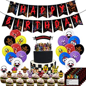 Nelton Birthday Party Supplies For Five Nights at Freddy's Includes Banner - Cake Topper - 24 Cupcake Toppers - 18 Balloons - 15 Invitations