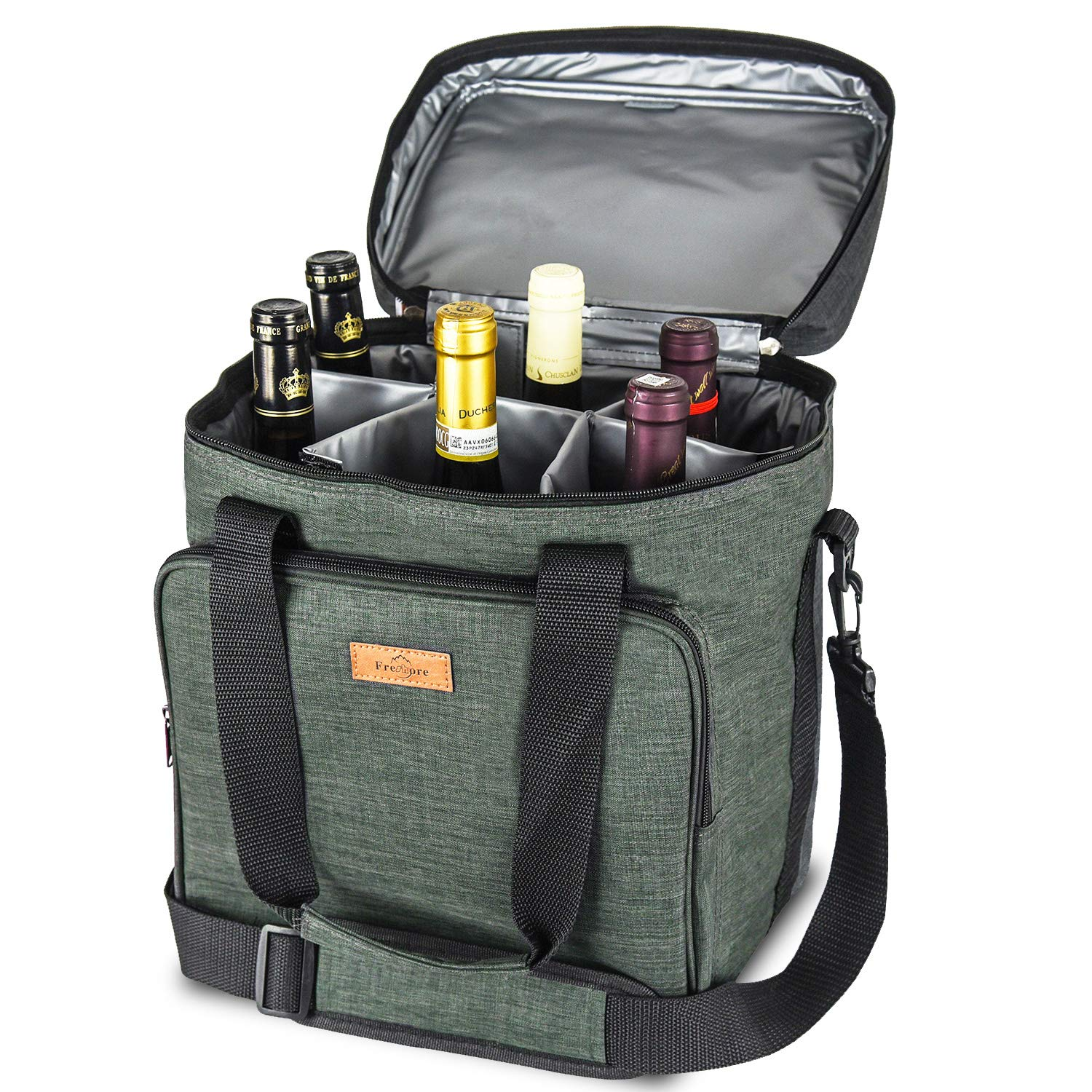 Freshore Insulated Wine Carrier 6 bottle Bag Tote Removable Padded Divider - Portable Travel Padded Cooler Carrying Canvas Case Adjustable Shoulder Strap - (Dark Green) by Freshore (Image #1)