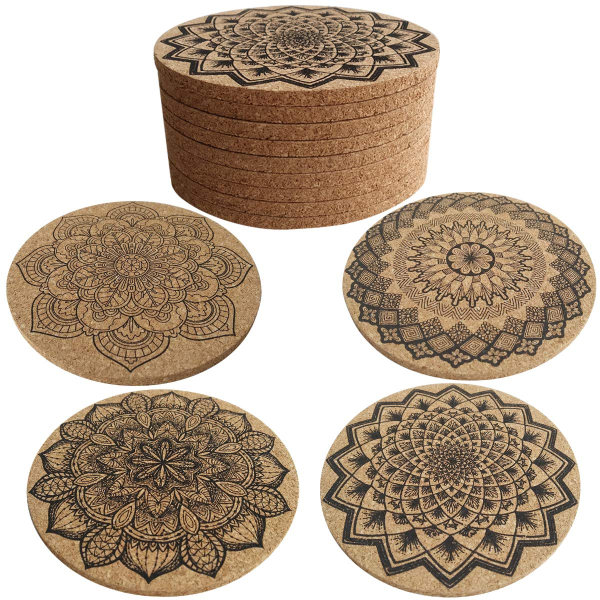 Cork Coasters, Topspeeder 16 pcs Drink Coasters Mats For Drinks Absorbent with Cork Base, Prevent Furniture from Dirty and Scratched Suitable Cold Drinks, Wine Glasses, Mugs & Cups (Wood)