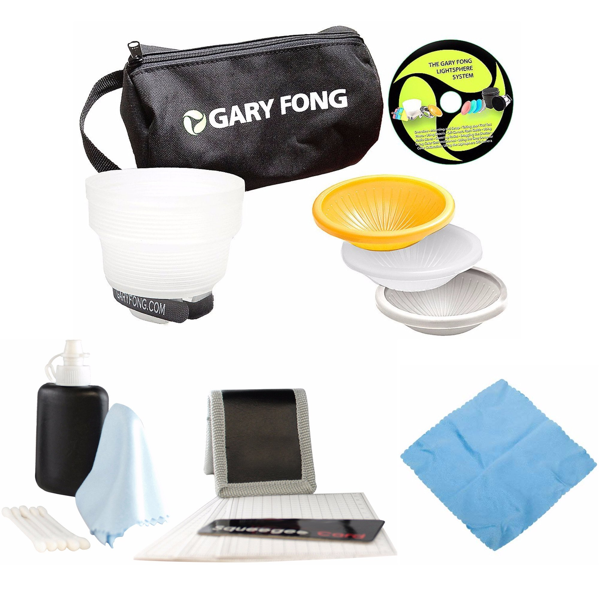 Gary Fong Lightsphere Collapsible Wedding Event Flash Modifying Kit (White/Gray/Amber), Bag & Cleaning Kit