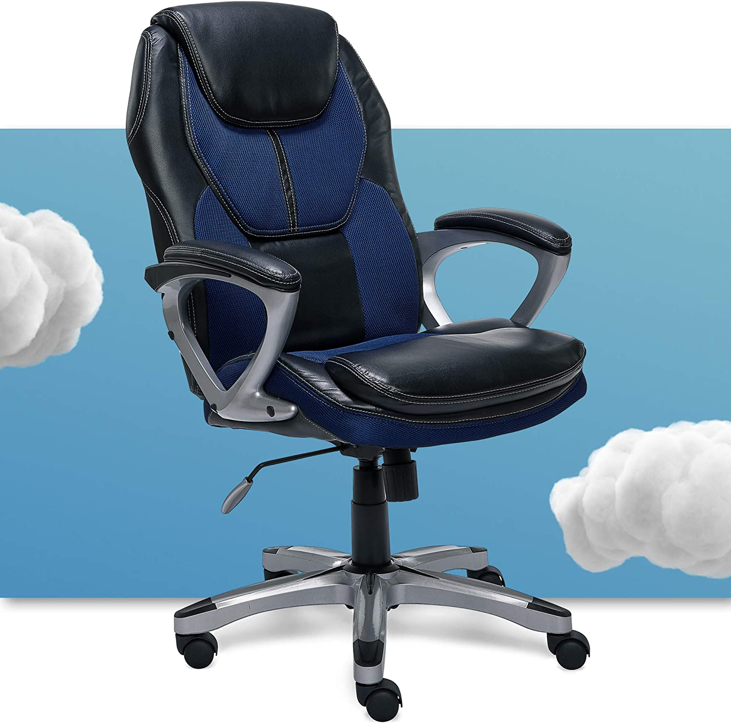 Serta Executive Office Padded Arms Adjustable Ergonomic Gaming Desk Chair with Lumbar Support, Faux Leather and Mesh, Black/Blue