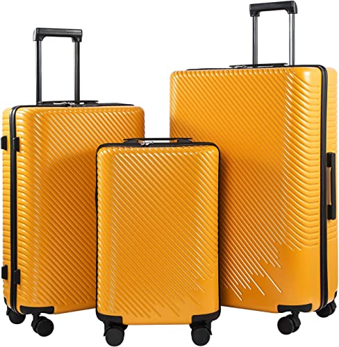 Coolife Luggage 3 Piece Sets PC ABS Spinner Suitcase carry on Fashion Mustard yellow, One_Size