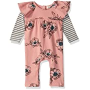 Jessica Simpson Baby Girls Coverall, Mauveglow Floral, 3-6 Months