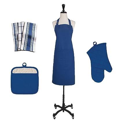 KAF Home Chef\'s Kitchen Linen Set Apron, Pot Mitt, Oven Mitt & Kitchen  Towels One Size Blue 6