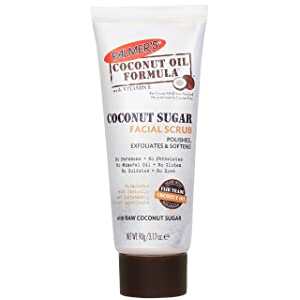 Palmer's Coconut Oil Formula, Sugar Facial Scrub Exfoliator | polishes & Softens | Squeeze Tube 3.17 Oz