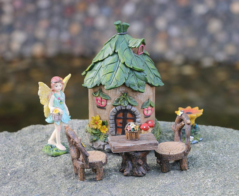 Set of 6 Miniature Fairy Figurines Decorations BangBangDa Fairy Garden Accessories Fairy House Table Chair Flower Kit for Mini Garden 55PCS Set