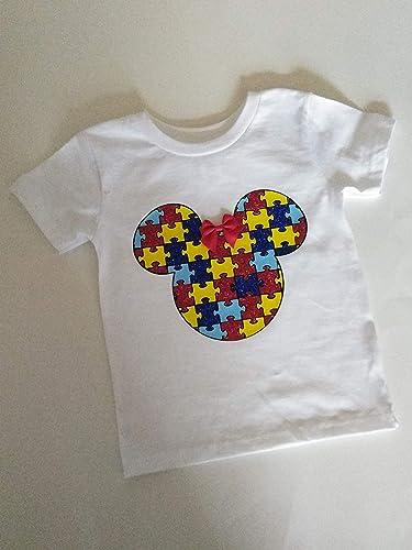 fd6dd72eeaac Amazon.com: Autism Awareness t-shirt, kids awareness shirt, minnie mouse  shirt, personalized shirt, rainbow puzzle, Mickey Mouse, Disney Inspired:  Handmade