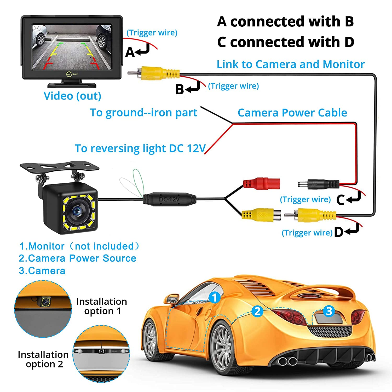 Rear View Camera Ultra HD 12 LED Night Vision,Waterproof Reverse Camera 140/° Wide View Angel with Multiple Mount Brackets for Universal Cars,SUV,Trucks,RV and More Car Backup Camera