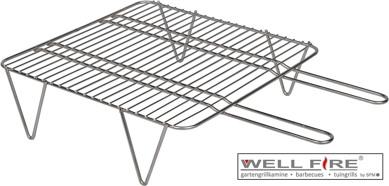 Edelstahl Grillrost für Grillkamin Landau mit Stehfüssen 46x46cm / Wellfire