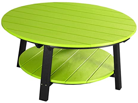 Captivating Outdoor Poly Deluxe Conversation Coffee Table  Lime Green And Black Color