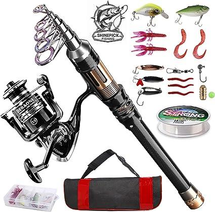 Telescopic Fishing Rod Combo and Reel Full Kit Spinning Fishing Reel Gear  LL