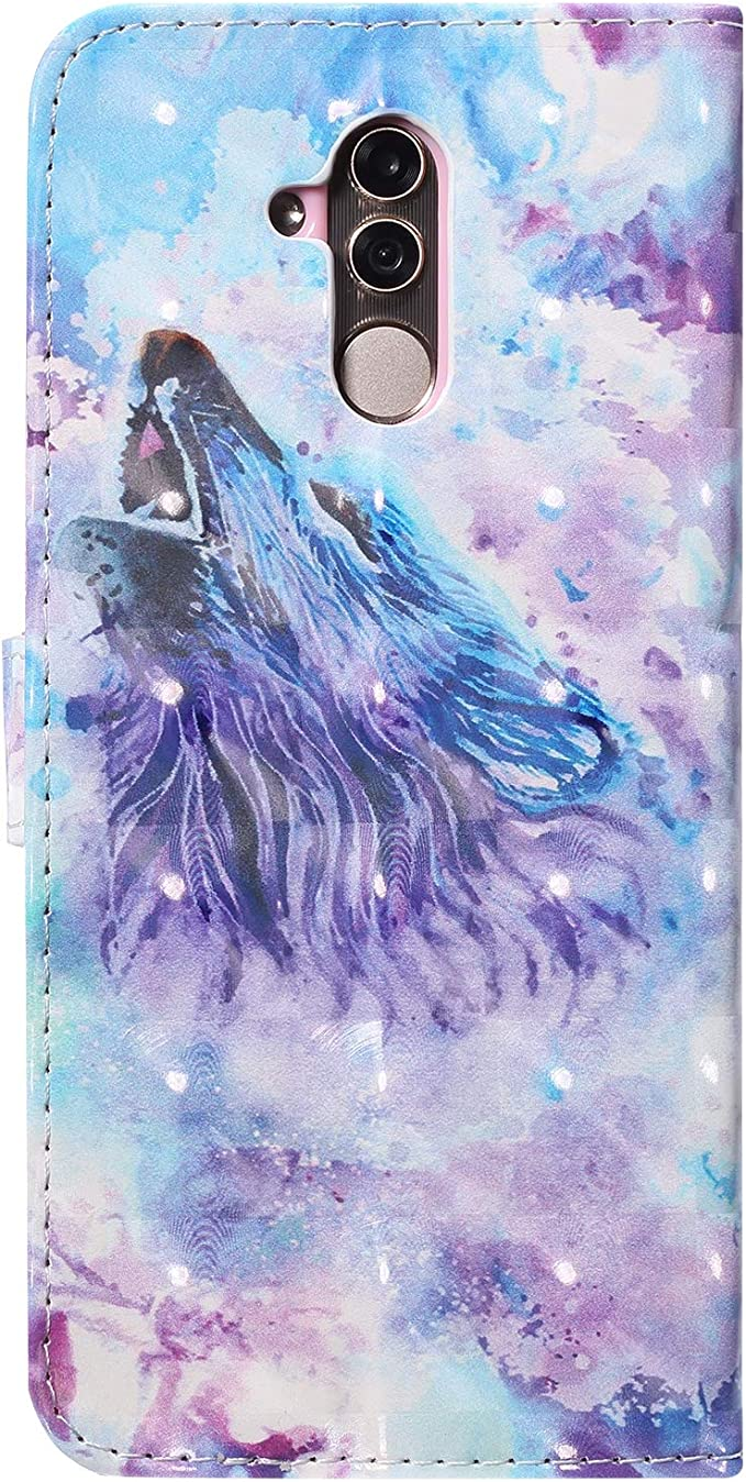 Herbests Compatible with Huawei Mate 20 Wallet Case Cute Colorful 3D Bling Glitter Painted Pattern Leather Flip Case Cover with Credit Card Holders Wrist Strap Magnet,Wolf Moon