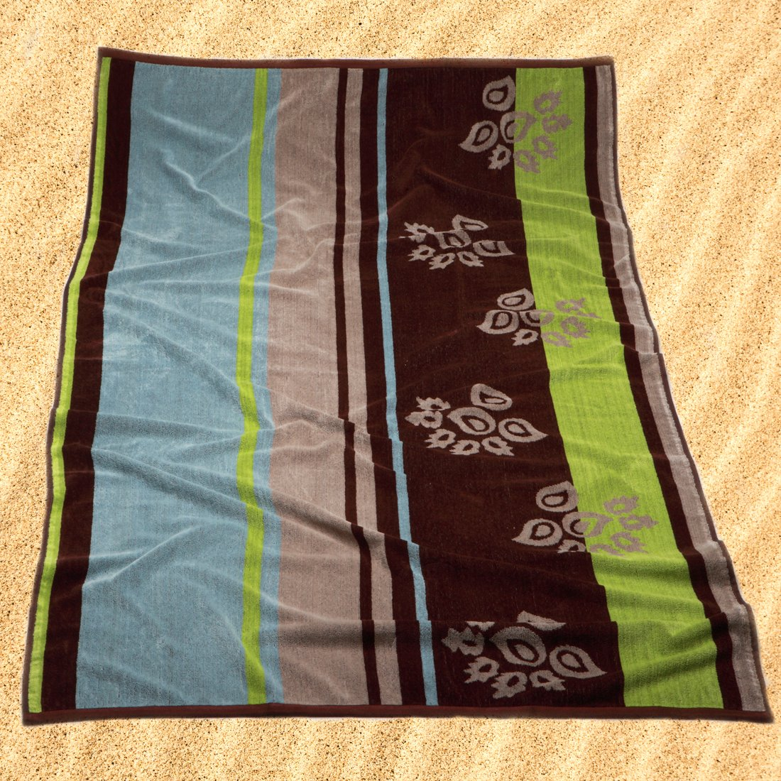 Burrito Blanco Toalla de Playa/Toalla de Piscina 175 Grande para Hombre o Mujer Algodón 100% Tacto de Terciopelo de 95x170 cm con Estampado de Rayas y Hojas ...