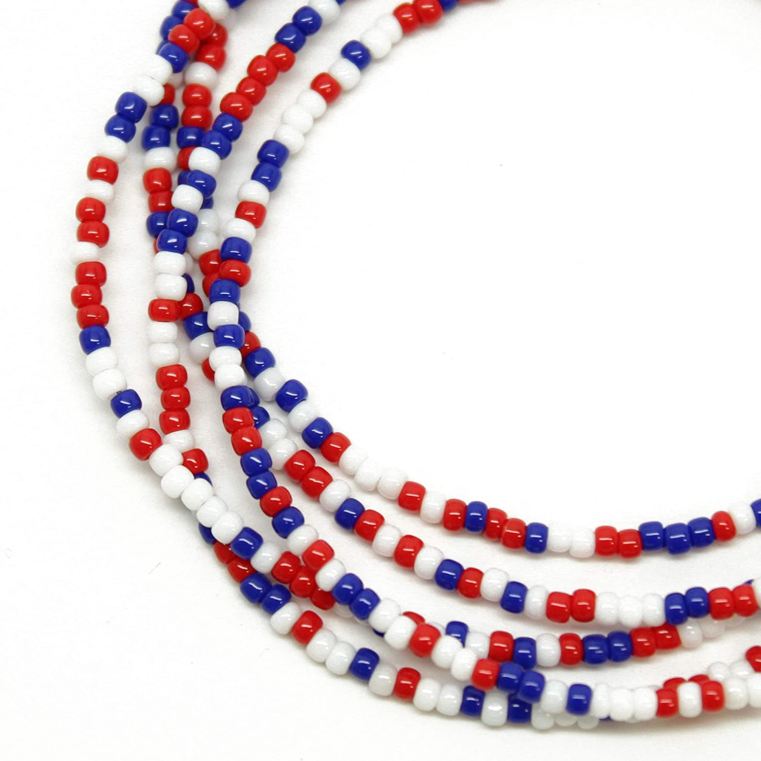 White and Blue Necklace Red