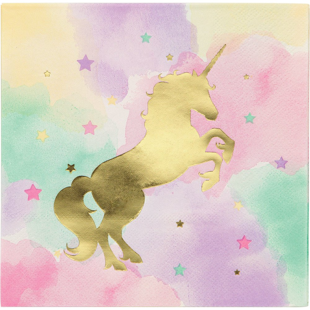 Creative Converting Unicorn Birthday Party Ultimate Bundle Serves 16 Guests: Happy Birthday Banner, Photo Props, Treat Bags, Plates & Napkins, Table Cover and Unicorn Cookie Cutter with Bonus Recipe by Creative Converting (Image #3)