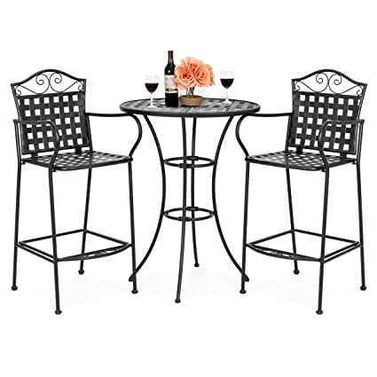 Amazon Com Best Choice Products 3 Piece Wrought Iron Woven Pattern