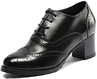 9be1d7820040 U-lite Black Perforated Lace-up Wingtip Leather Pump Oxfords Vintage Oxford  Shoes Women