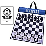 "Brilliancy 17""×17"" Professional Tournament Chess Board Set(Fide-Standards) with Chessmen-32 Pieces & Free Chessbag - Black"