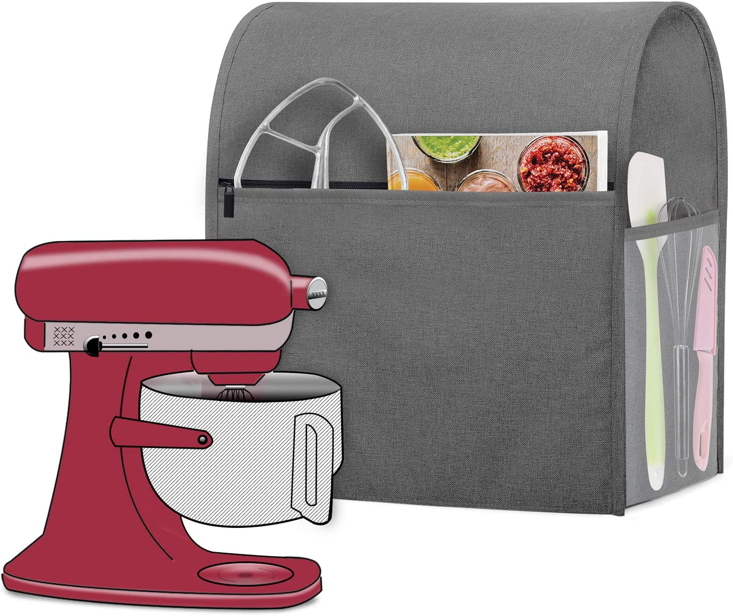 Luxja Dust Cover Compatible with 6-8 Quart KitchenAid Mixers, Dust Cover with Cloudy side Pockets for 6-8 Quart Stand Mixers and Extra Accessories, Gray