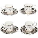 Grace Teaware Fine Porcelain Espresso Cup and Saucer Set of 4, 3-Ounce (Stripe Black)